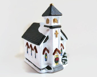 Miniature Church - Ceramic Christmas village, lighted church, Christmas houses, white church, stained glass windows, miniature village