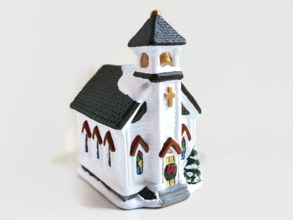 Miniature Church Ceramic Christmas Village Lighted Church
