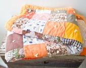 Vintage Quilt - Handmade Patchwork Vintage Quilt Vintage Blanket Brown Green Boho Quilt