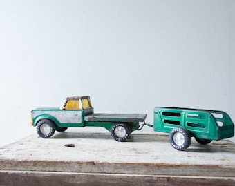 Teal Green Vintage Metal Truck Tractor Trailer Nylint Auto Haul Trailer RARE Toy Truck Metal Toy Truck Pickup