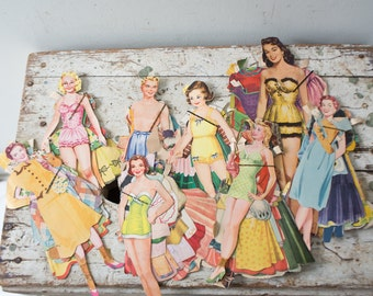Vintage Paper Doll Lot No. 8 Paper Paper Ephemera Pinup Pin Up Girl