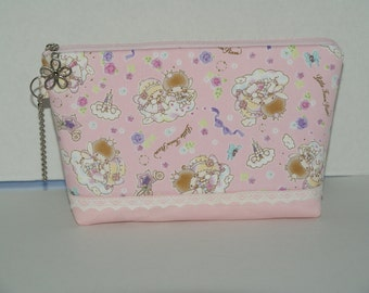 """Large Padded Zipper Pouch/Pencil Case/Cosmetic Case with Pocket Made with Japanese Fabric """"Little Twin Star - Princess and Prince Star """""""