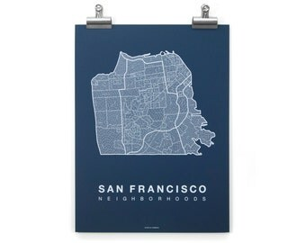 San Francisco Neighborhood Map - White on Navy