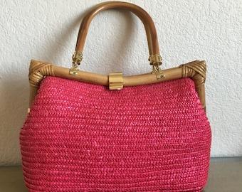 Vintage Hot Pink & Bamboo Purse! Tiki - Rockabilly - VLV - Pinup
