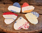 Old Patchwork Heart Appliques, Shabby Prim Homespun Feedsack Embellishments, Crafting Upcycled Vintage Cutter Quilt Patches itsyourcountry
