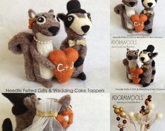 Squirrel and Raccoon Cake Topper - wedding decoration gift - design your own customers made gift