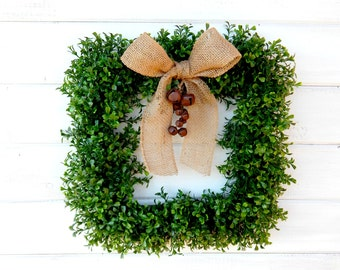 Boxwood Wreath-Square BOXWOOD Wreath-Holiday Door Wreath-Housewarming Gift-Christmas Door Wreaths-Winter Wreath-Christmas Gift