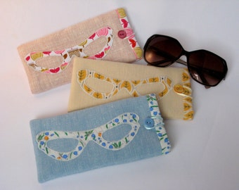 Fabric Glasses Case - Pink, Blue and Cream, Spectacles Case, Sunglasses Case, Glasses Sleeve, Soft Reading Glasses Case