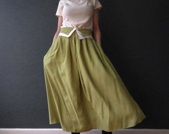 80s Lime Midori Green Gathered Midi Skirt Deadstock Tiffany Jane Medium