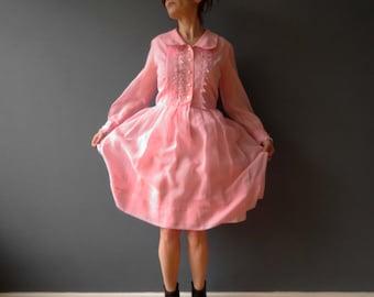 70s Pastel Pink Cotton Shirt Dress Pintuck Lace Long Sleeve Small