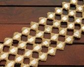 Antique Gold Toned Fabric Trim with Mirrors-Cut Work Embroidered Sari Border-Sari Fabric-Silk Fabric Trim-Crazy Quilt Trim-Silk Ribbon