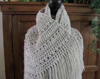 Blanket Scarf Super Scarf 9 1/2+ Ft Long Crocheted Beautiful Linen Cream Super Soft Acrylic Yarn Unisex Extra Long Oatmeal/Beige/Cream Scarf