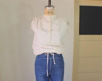 Cotton Draw String Top / Sleeveless Bohemian Cinch Blouse / Off White Vintage Women's Apparel