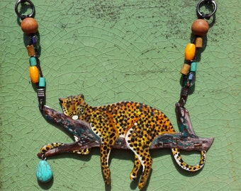 Leopard on tree enamel African style necklace, with turquoise