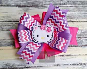 Stacked Boutique Loopy Pinwheel Bow with Hello Kitty Felt Clip Center - Animal Cat Hairbow - Handsewn Bow - Ready to Ship (RTS)