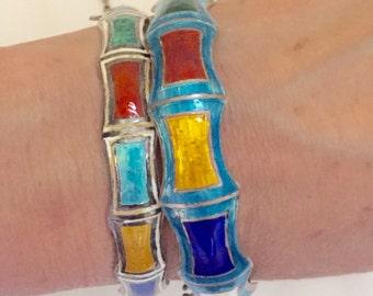 Vintage SIAM Sterling & Enamel BANGLE Bracelet Lot of 2 Multi Colored