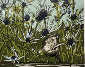 Bird Among Thistles, original linocut print