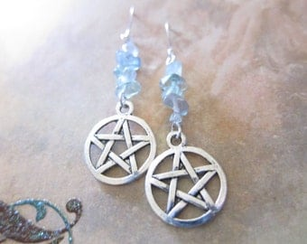 Fluorite Gemstone Chip Pentagram Charm Earrings TCJG