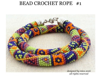 PDF Pattern for Bead Crochet rope - bracelet or necklace