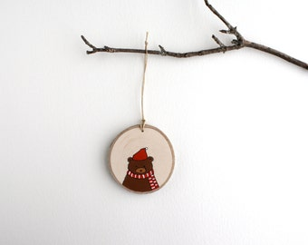 Bear Ornament - Hand Painted Christmas Ornament - Woodland Ornament