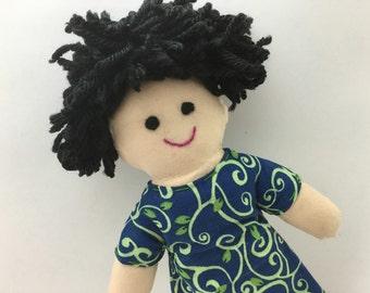 IVY--cloth doll in blue green ivy dress--light skin, black hair, black eyes (FREE shipping in USA)