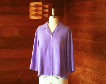 vintage dusty lavender silk blouse / large XL