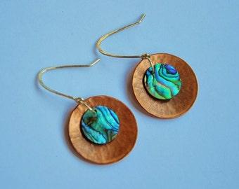 New Zealand Paua shell & copper disc earrings~sterling hooks