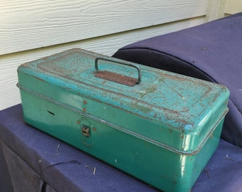 Rustic Metal box tackle with a shelf for fishing or tools army green