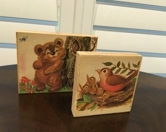 2 Rustic Vintage Print Art Blocks Wood fuzzy bear