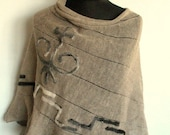 Linen Shawl Cape Clothing Natural Gray Felted Wool