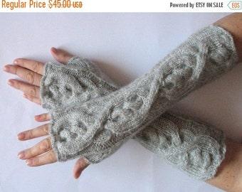 "Gray Fingerless Gloves Mittens light gray 13"" Arm Warmers Soft acrylic mohair"