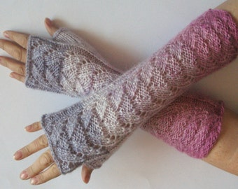 Fingerless Gloves White Pink Purple wrist warmers