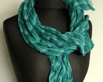 Linen Scarf Washed Green Blue