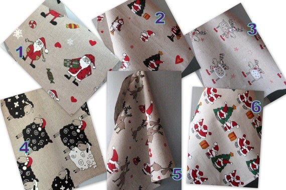 Linen Dish Towels Tea Towels Santa Claus Rudolf Reindeer Christmas Holiday Tea Towels