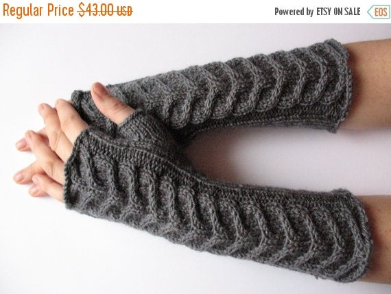 "SALE Fingerless Gloves Long Dark Gray 10"" Mittens Arm Warmers, Acrylic Wool"