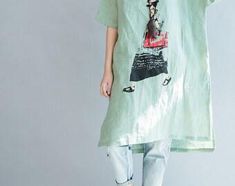 Loose Fitting linen short sleeved dress Large size asymmetry shirt dress