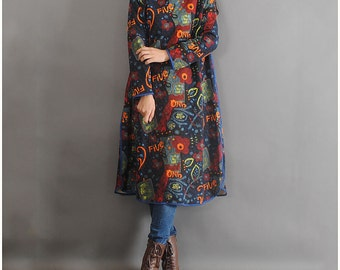Cotton Print Long dress Loose Fitting long robe Large size women Clothing