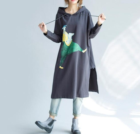 Dark grey/ Green/ Coffee color cotton loose fitting Long coat t shirt