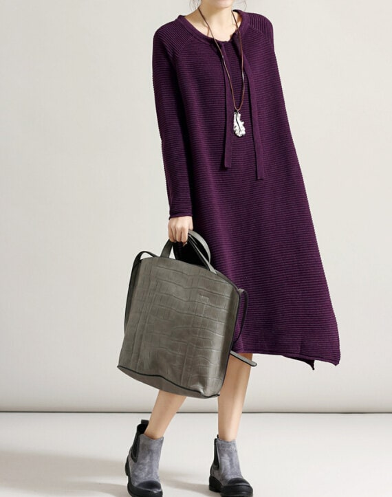 black/ purple/ round collar long Loose fitting dress bottoming sweater dress