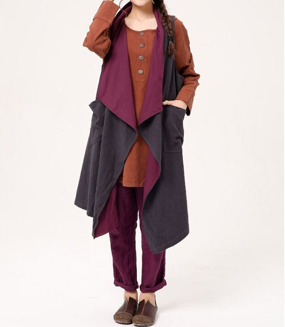Loose fitting large size Sleeveless coat women Asymmetric Dark gray vest