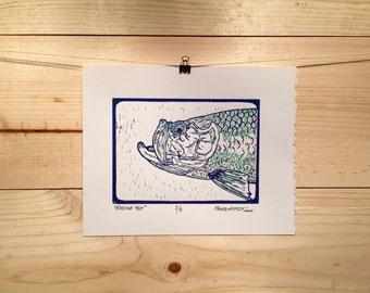Bridge Fish 3 color reduction Tarpon print by Jonathan Marquardt of BadAxeDesign