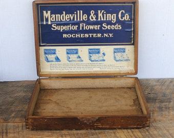 Vintage Mandeville & King Co. Superior Flower Seeds Wood Box Rochester, NY