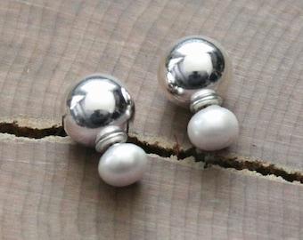 Pearl & Silver Front Back Earrings, Pearl And Silver Ear Jacket Earrings, Tribal Earrings, Two Way Stud Earrings, Modern Ball Studs