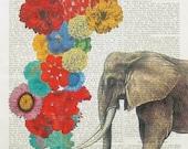 TROMBONIST elephant art flowers love music opera botanical wall decor illustration fauna animals dictionary page