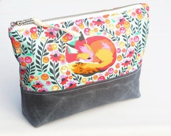 Fox Zipper Bag, Cosmetic Pouch, Travel Bag, Waxed Canvas Base, Grey, Pink and Orange