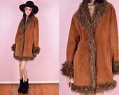 90s Suede Faux Fur Trim Coat