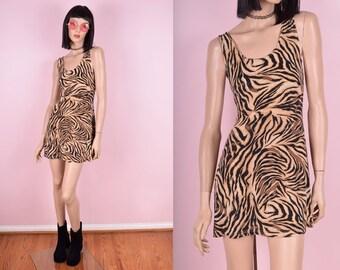 90s Tiger Print Mini Dress