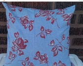 Sale Red Roses on Blue Upcycled Pillow Cover 14 Inch Square 14 X 14