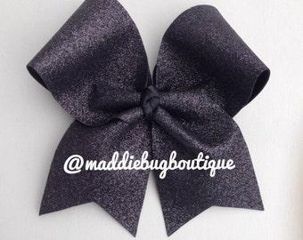 Black Glitter Cheer Bow