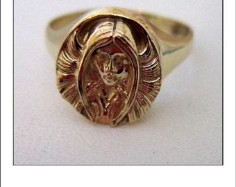 Art Nouveau 10k Lady Head Custom Made Ring